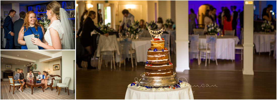 A charming wedding cake, ready to be cut...