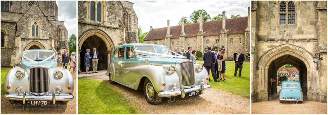 The wedding car leaves the church to return to the reception venue