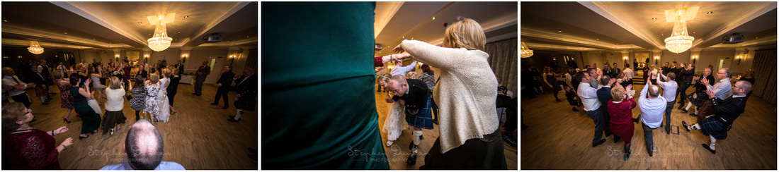 Wedding guests learning the moves as they go
