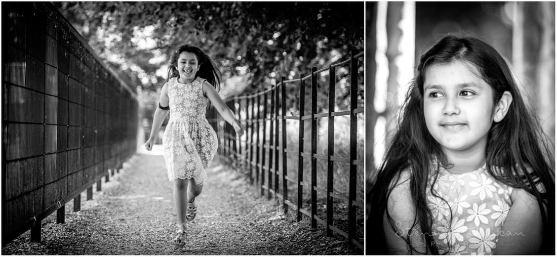 Girl running and close headshot portrait