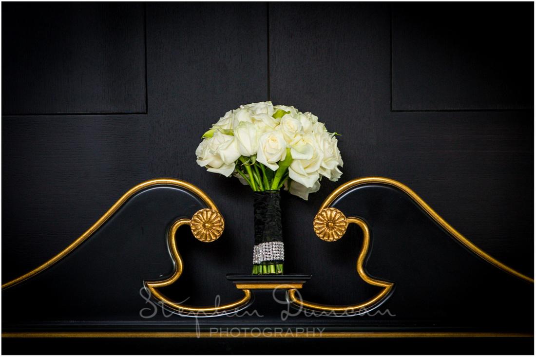 Bride's bouquet arranged in the Syon Park Hilton Hotel