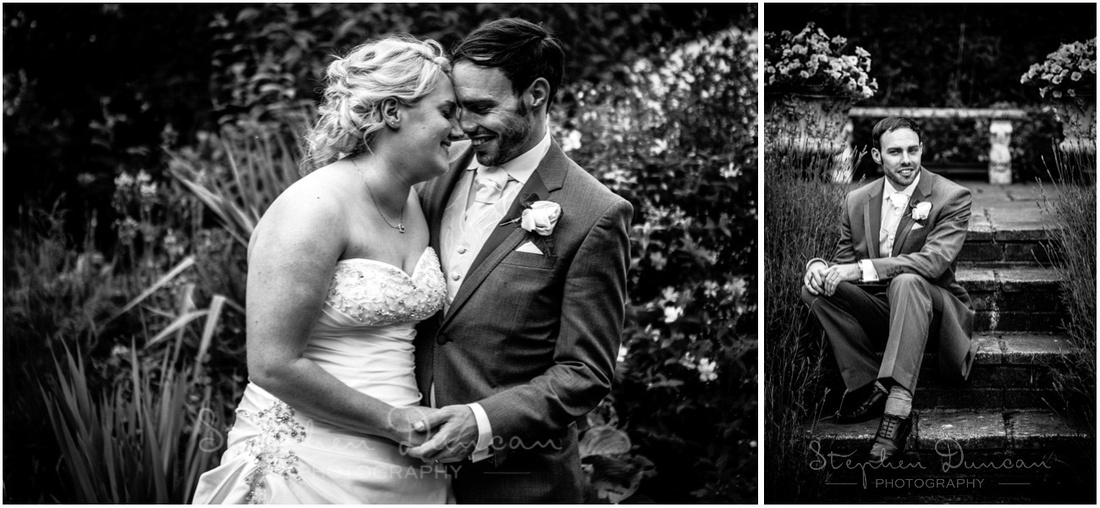The couple together and portrait of the groom sat on steps in the garden