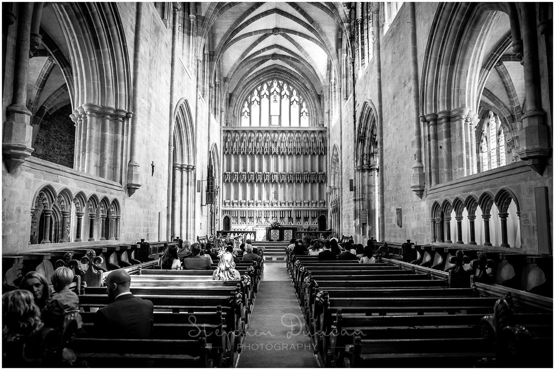 Black and white photograph of Milton Abbey interior