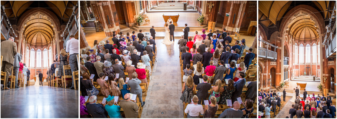 View from the gallery at the back of the church during the wedding ceremony