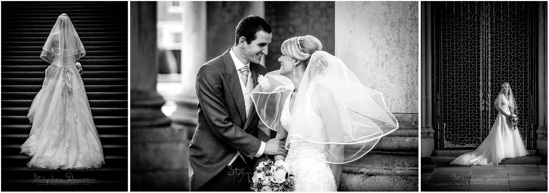 Bride on staircase and in front of iron gates