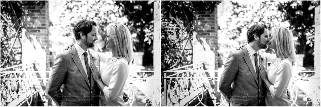 Black and white photos of bride and groom together by the small water garden to the east of the Cathedral