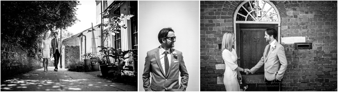 Candid photographs of the bride and groom as they walk through the back streets of the city of WInchester