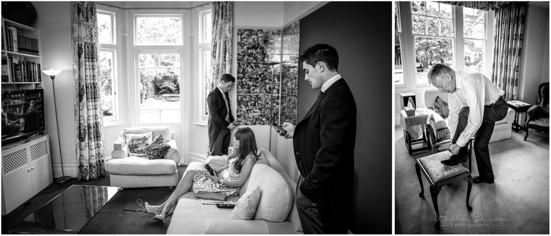 Family getting ready at home before the ceremony