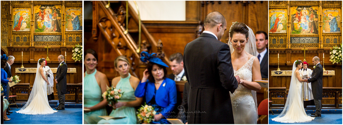 All eyes on the couple as they make their vows and exchange rings at the heart of the wedding ceremony