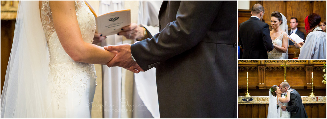 The couple exchange wedding rings and kiss to symbolically seal the marriage