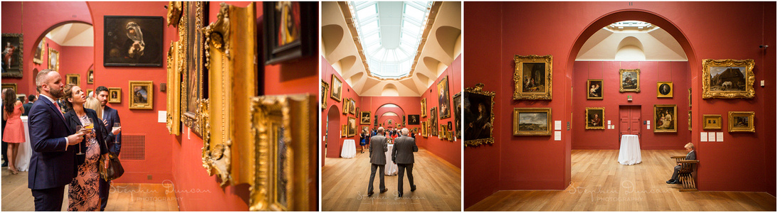 Guests appreciate the artworks during the drinks reception held inside Dulwich Picture Gallery