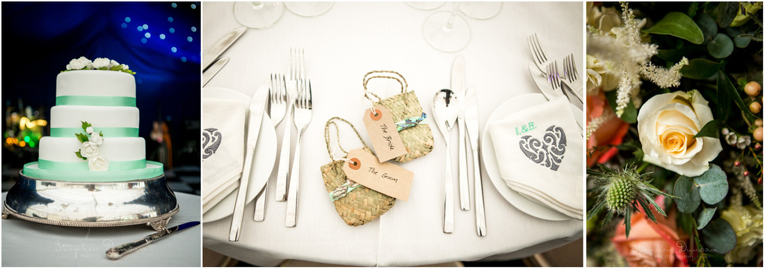 Cake, floral details and wedding favours