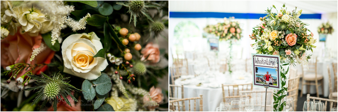 Floral arrangements at wedding reception at Dulwich Picture Gallery
