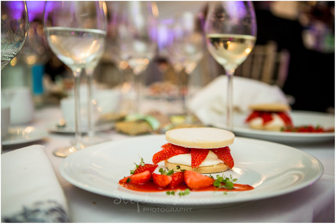 A strawberry dessert at the end of the wedding breakfast