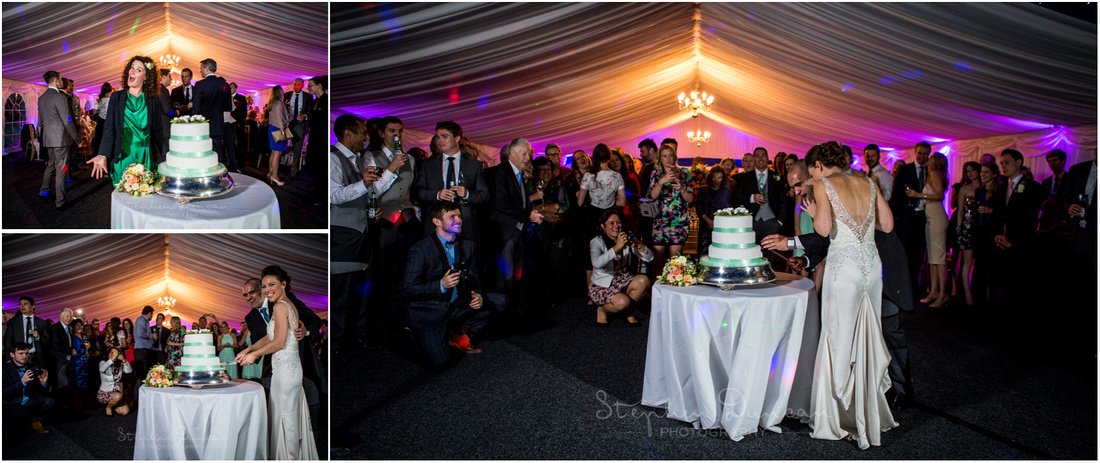 Bride and groom cut the wedding cake to kick off the evening party