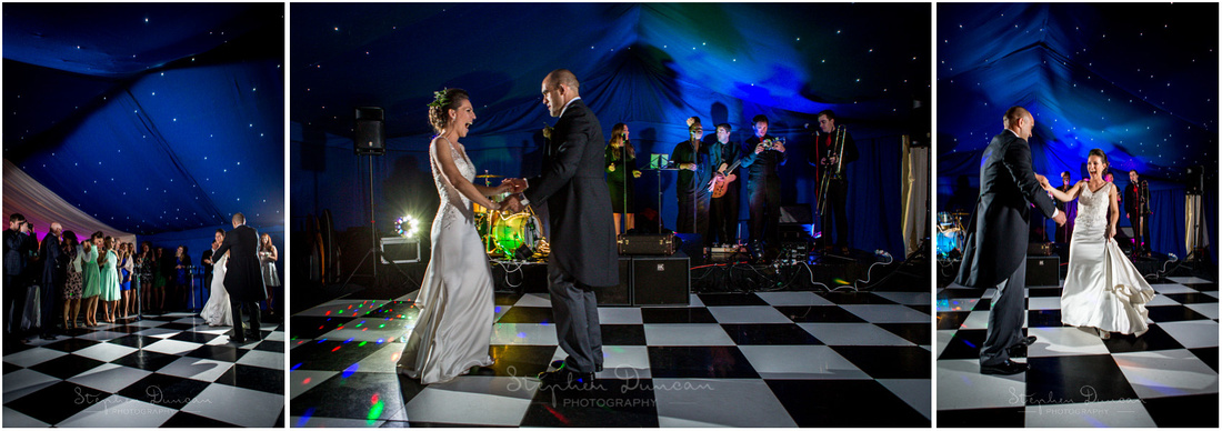 Bride and groom take to the floor for the first dance