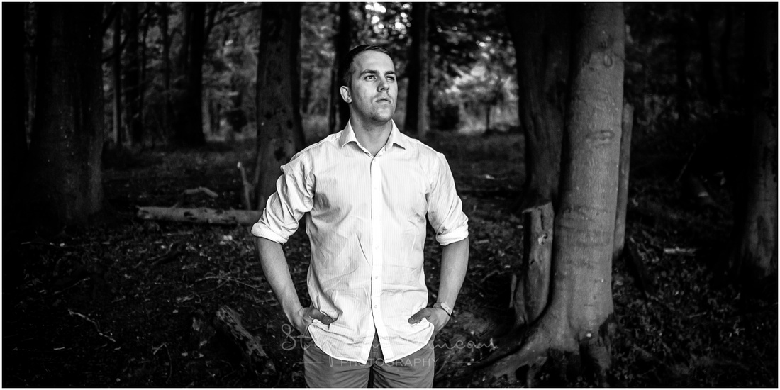 Groom solo portrait black and white natural light