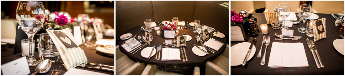 Detail shots of the dining room laid out for the wedding breakfast