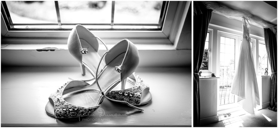 Wedding shoes and dress at Bride's house in the morning