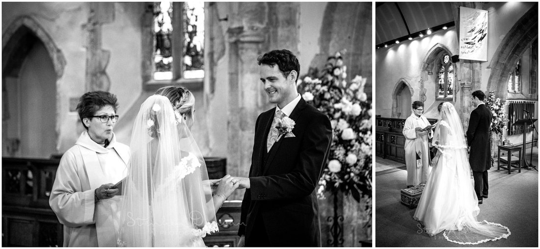The couple turn to face each other to exchange vows and rings