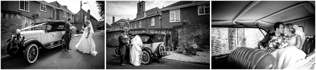 A classic car provided the transport for the newly married couple