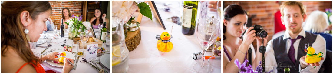 Duck races are a popular wedding tradition at Sopley Mill. Here each table decorates their own duck in anticipation of the race to follow