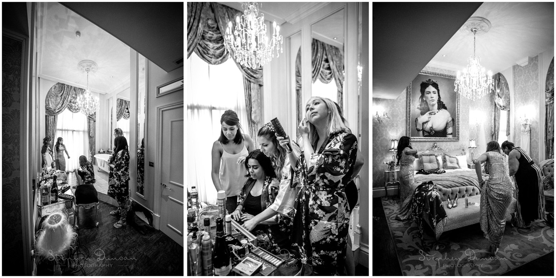 Bride and bridesmaids apply finishing touches at Dorchester Hotel