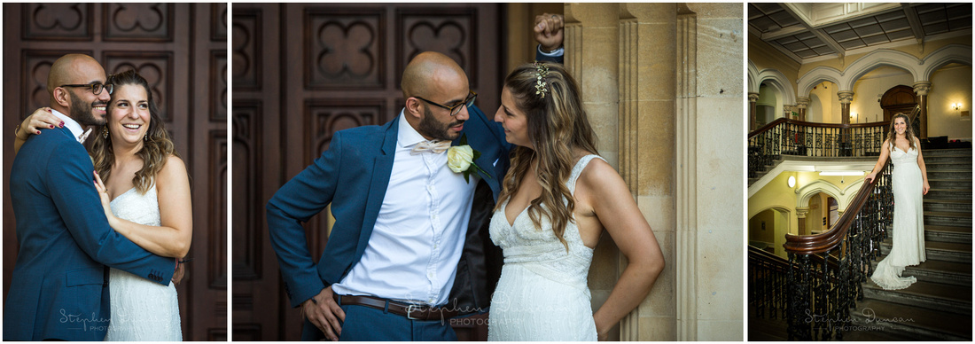 Couple portraits of bride and groom at Ealing Town Hall