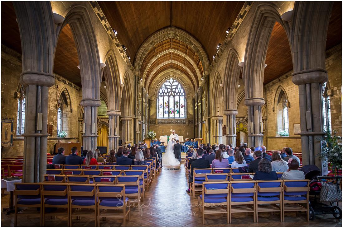 Interior view from rear of St Saviour's Church Brockenhurst marriage