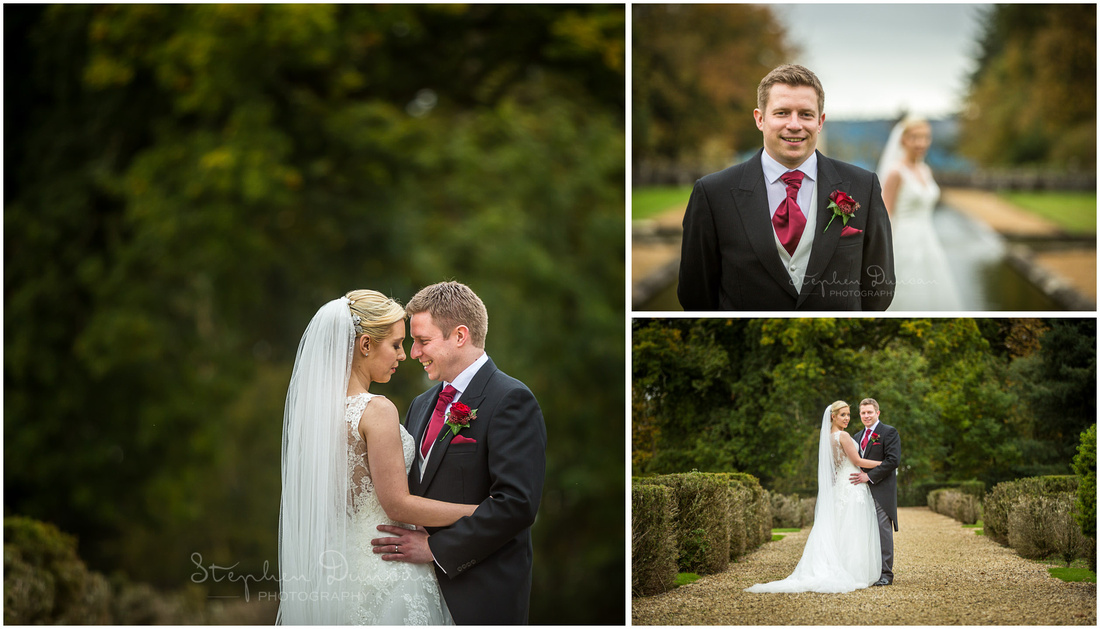 Colour photos of wedding couple in new forest hotel grounds