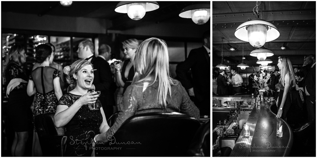 Black and white photographs of wedding guests at bar