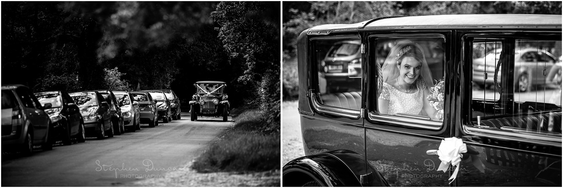 The bride and her father arrive at the church in a classic Rolls Royce