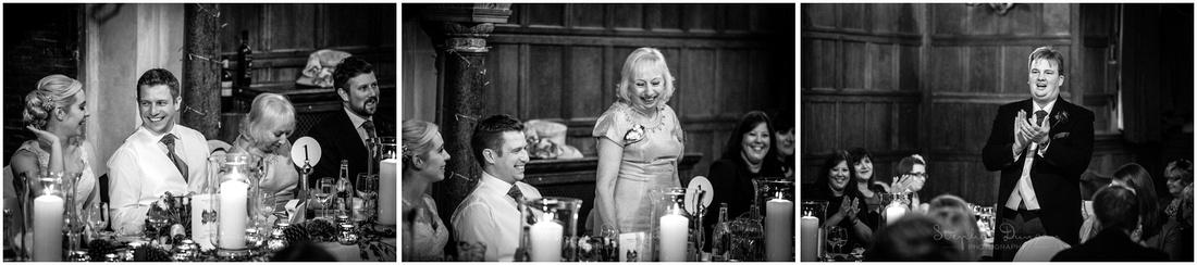 Black and white photos of wedding speeches