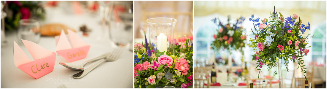 Details of flowers and name places in reception marquee`