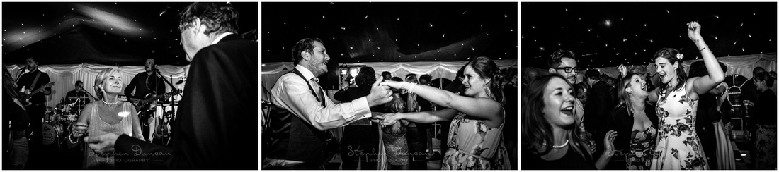 Black and white photos of wedding guests in the dance tent