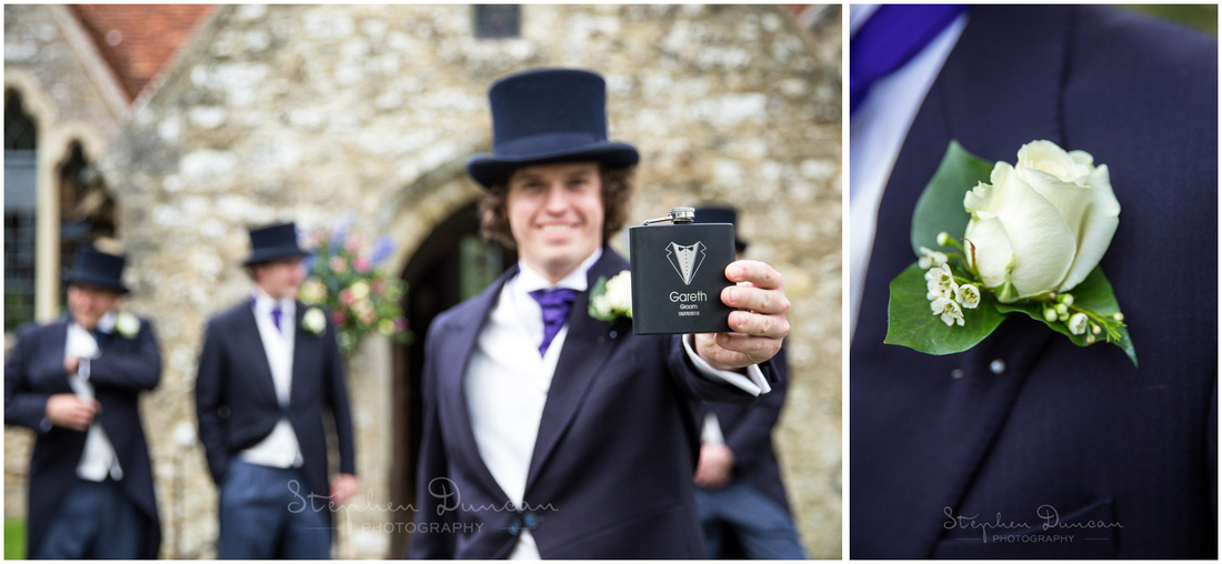 Portrait of groom with details of buttonhole and engraved hip flask