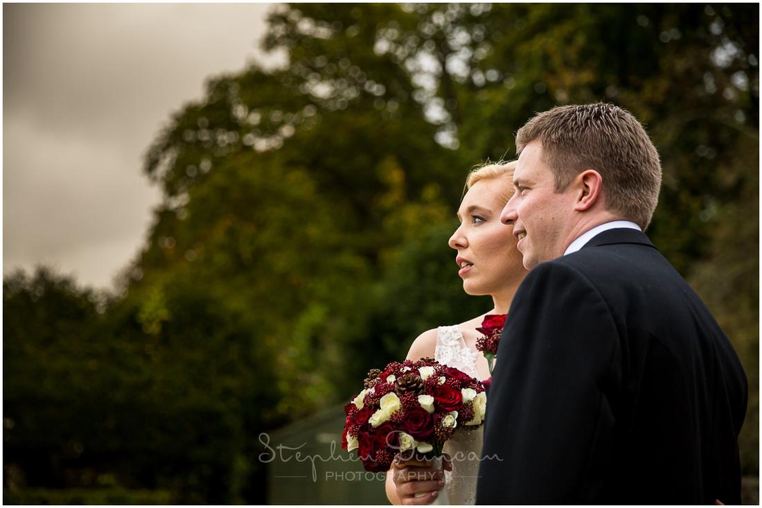 Bride and groom profile portrait
