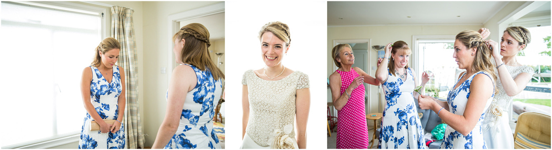 Bride and bridesmaids getting ready in the family home