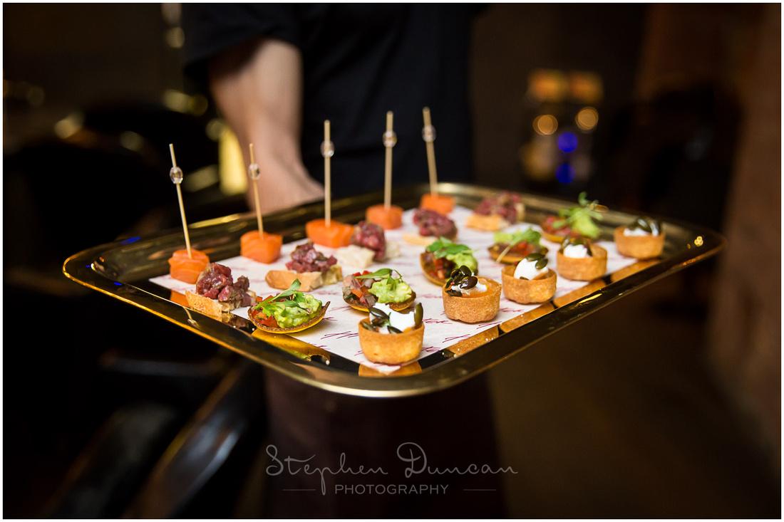 Tray of canapés at Hixter Bankside wedding reception