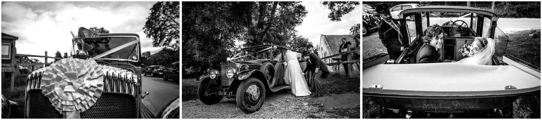 The bride and groom get into the wedding car ready to head to the reception venue