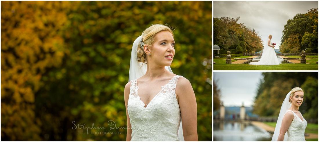 bride solo portraits behind hotel