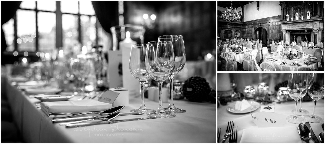 Black and white images of table layouts in dining room