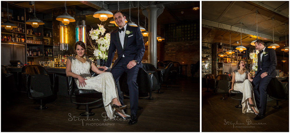 Portrait of bride and groom in cocktail bar at Hixter restaurant London