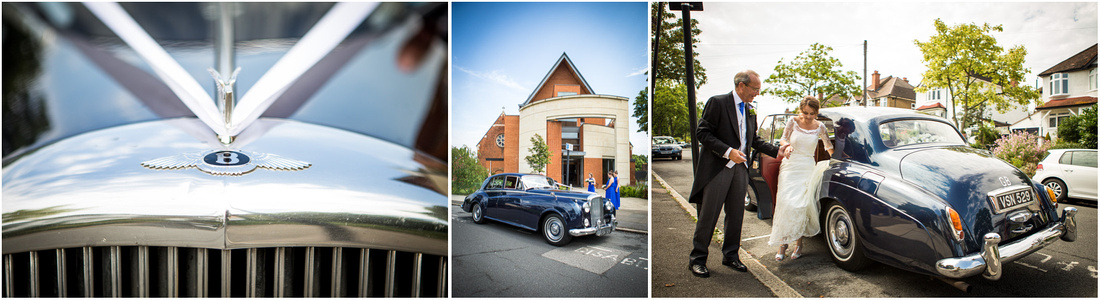 The bride and her father arrive outside the church in a classic Bentley wedding car