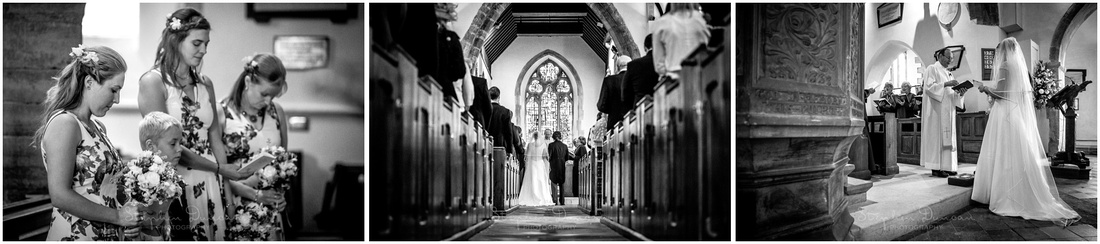 Bridesmaids at the start of the wedding ceremony, and the view from the back of the church down the central aisle
