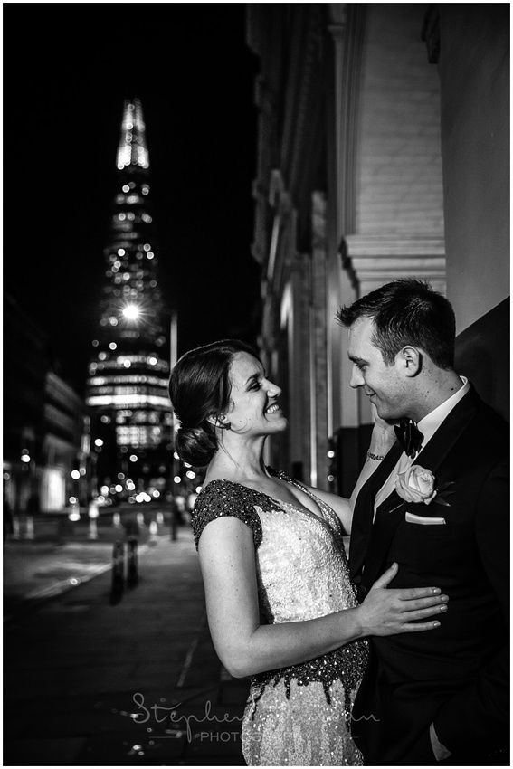 Black and white portrait of bride and groom at London New Years Eve wedding