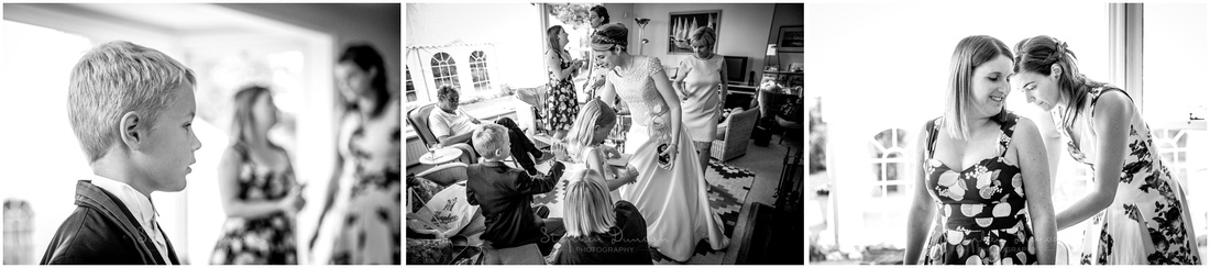 Black and white images from pre-wedding preparations