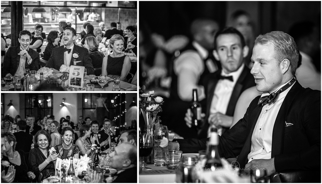 Black and white photographs of guest reactions during speeches