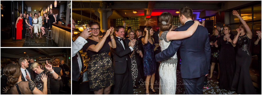 Bride and groom together on the dancefloor as the party continues