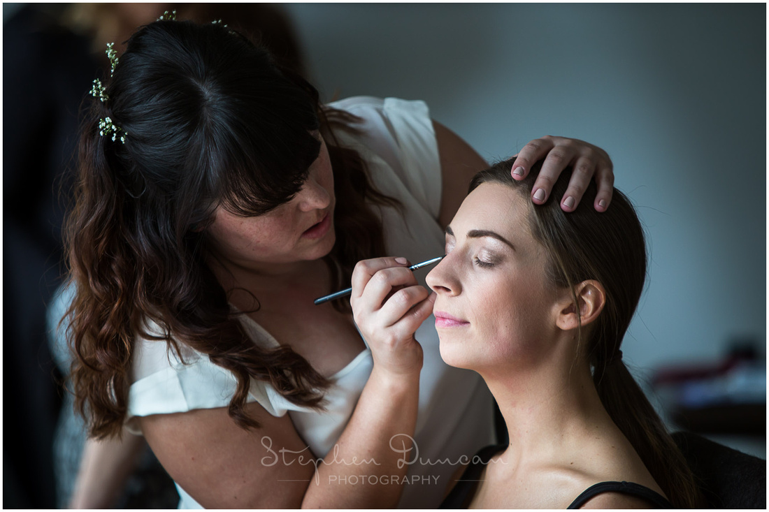 Make-up for one of the bridesmaids